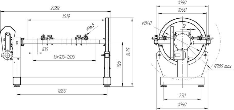 стенд для разборки двигателя чертеж